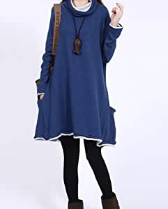 Ama Sweat Femme Robe sweat jumper manche longue bleu Taille unique