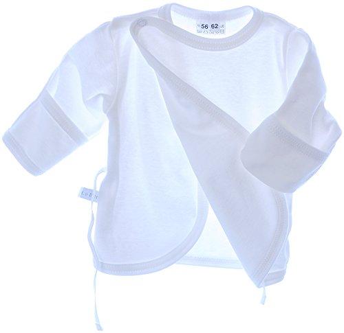 La Bortini Hemdchen Wickelshirt Babyhemdchen Shirt Flügelhemdchen 50 56 62 68 Taufe Weiß (50)
