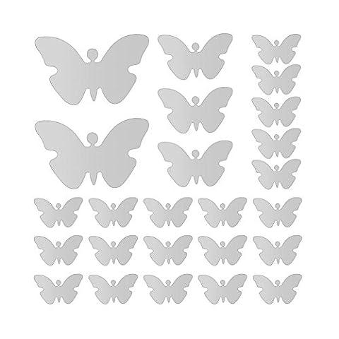 Saison de Fée Argent-Acrylique-Sticker mural Papillons 3D effet miroir autocollant mural pour chambre ou Salon