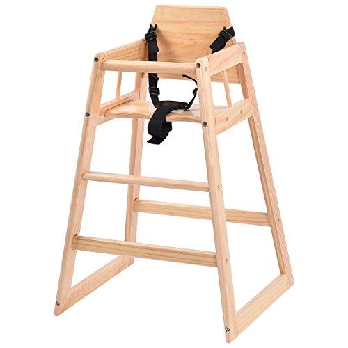 COSTWAY Kinderhochstuhl Hochstuhl Babystuhl Kinderstuhl Treppenhochstuhl mit Sicherheitsgurt Holz