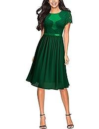 Miusol Damen Abendkleid Sommer Chiffon festlich Kleid Cocktailkleid Vinatge kleider Blau Gr.36-44