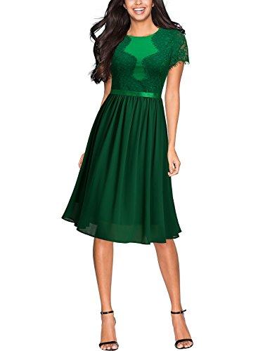 Miusol Sommerkleid Chiffon festlich Kleid Cocktailkleid Vinatge kleider Grün