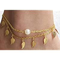 Anklet Leaf Pattern with Pearl - Gold