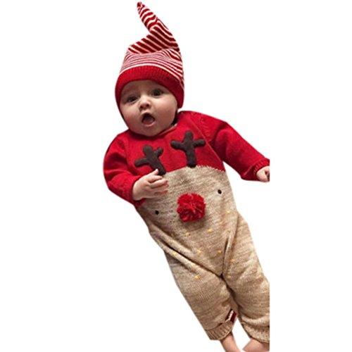 Baby Overall Strampler Longra Neugeborenes Baby Baumwolle Deer Stramplerset Spielanzug Jumpsuit Langarm Baby Outfits Unisex Baby Kleinkinder Weihnachten Pyjamas Set mit Hut (70CM 6Monate, Red) (Stricken Blau Pyjama)