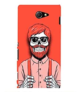 For Sony Xperia M2 -Livingfill- Human skeleton in dress Printed Designer Slim Light Weight Cover Case For Sony Xperia M2 (A Beautiful One of the Best Design with a Classic Theme & A Stylish, Trendy and Premium Appeal/Quality) (Red & Green & Black & Yellow & Other)
