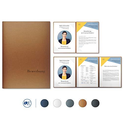 """5 Stück 4-teilige Bewerbungsmappen Esclusiva® Exzellent-plus in Kupfer mit 2 Klemmschienen // in 1A-Premium-Qualität mit hochwertiger Flach-Prägung """"BEWERBUNG"""" // Produkt-Design von""""Mario Lemani"""""""