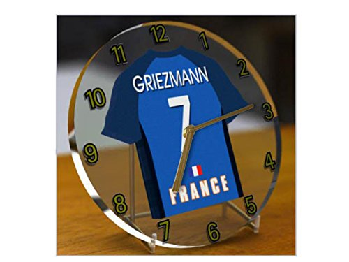 FIFA européen International Coupe du monde de football – International Maillot de football Bureau horloges – n'importe quel nom, n'importe quel Nombre, n'importe quelle Équipe., Acrylique, France FIFA International Football Kit Clock, 165mm Circular