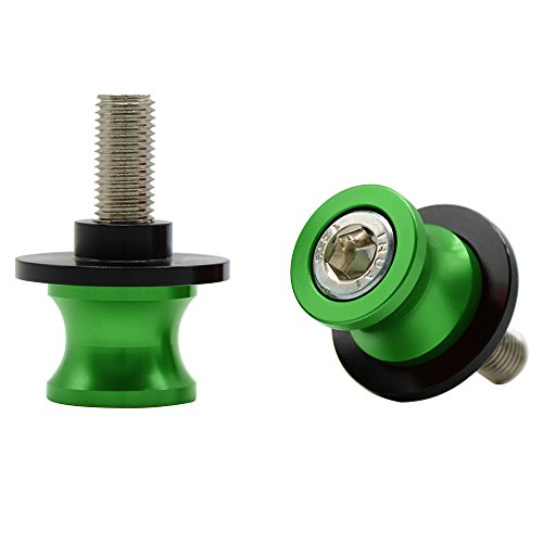 Universal CNC Aluminio Diabolos M10*1.25 Basculante de Deslizadores Tornillos del Soporte para Duke/RC 125 200 390 ZX6R ZX10R Z750 Z1000 Z1000SX ER6N ER6F Ninja 250 300 (Verde)