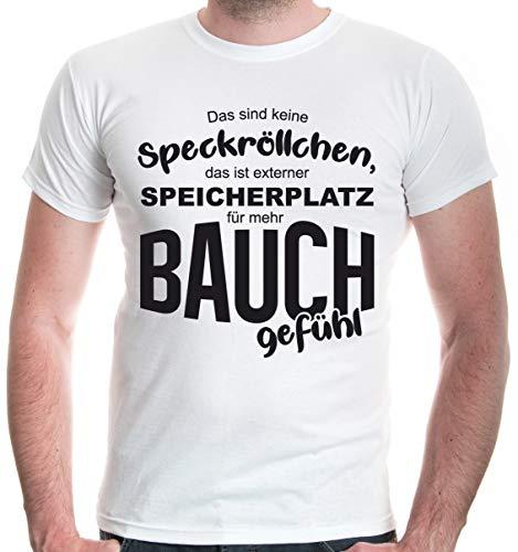 Mann Fat Funny Kostüm - buXsbaum® Herren T-Shirt Das sind Keine Speckröllchen | XXL, Weiß