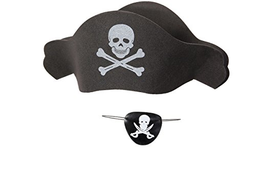 Kostüm Jack Captain Sparrow Kid's - Alsino Piraten Kostüm Outfit (Kv-66) schwarz Augenklappe Piratenhut Totenkopf Piratenparty Set