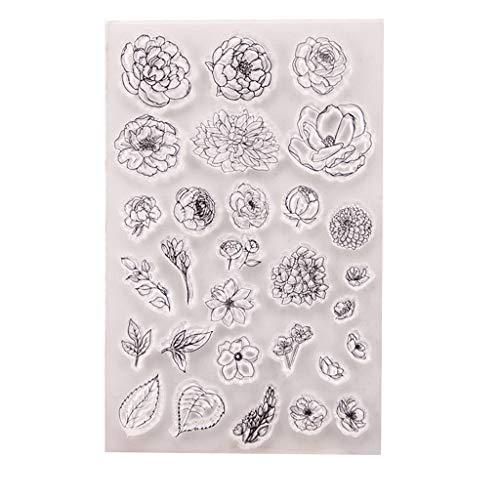 Liancany Blumen-Motivstempel aus Silikon, transparent, zum Basteln, für Scrapbooking, Prägen, Fotoalbum, Dekoration