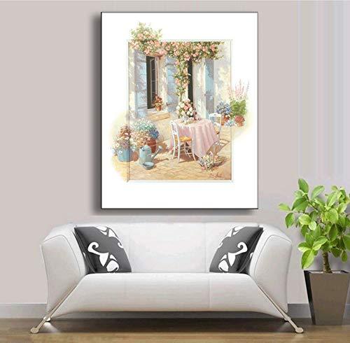 Knncch Landschaft Poster Und Drucke Blume Haus Ölgemälde Druck Auf Leinwand Mediterrane Landschaft Wand Dekor Bild Für Wohnzimmer,40X60Cm