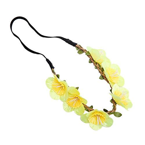MELLRO Cocktail Haarband Kranz Girlande Krone Kopfschmuck Hochzeit Festival Party Plum Blossom Boho handgemachte Blumen Stirnband Haar (Farbe : Gelb) Bohemia Blossom