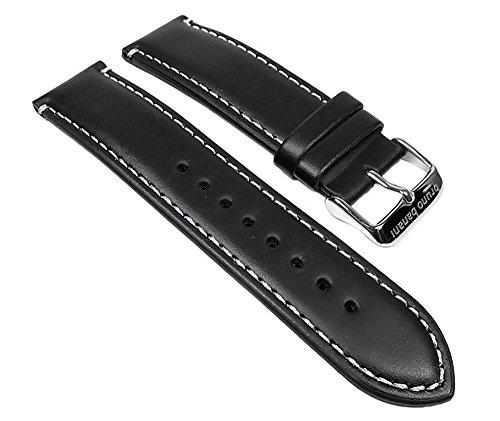 Bruno Banani Ersatzband Uhrenarmband Leder Band schwarz für Alos Herrenuhr BR22055 BR22056 BR22057 B