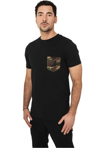 URBAN CLASSICS - Camo Pocket (black/camo) - T-Shirt, Gr. M