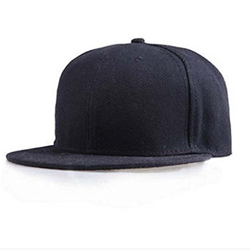 Berretto baseball Familizo Berretto da baseball unisex Plain Snapback Hats Hip-Hop regolabile (Nero)