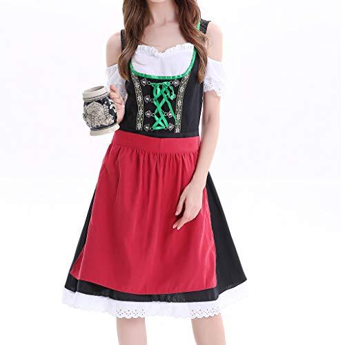 ToDIDAF Kleid für Damen Frau Mädchen Oktoberfest Theme Maidservant Maid's Kleidung Cosplay Kostüme für Halloween Oktoberfest Rot M