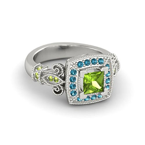 Disney Princess Belle weiß platiniert 925Peridot Blau Topas Ring aus Vorra Fashion (Blau Disney Princess-ring)