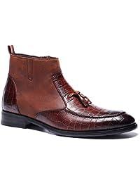 ZHRUI Slip on Chelsea Boots para Hombre Botas de Fahion con diseño de cocodrilo y Suela Suave (Color : Marrón, tamaño : EU 46)