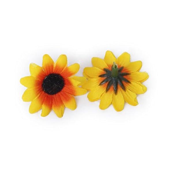 Tinksky 100pcs realistas artificiales de plástico girasol cabezas Home Party decoración tubos () amarillo