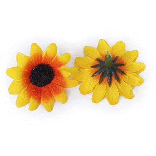 WINOMO 100pcs künstliche Sonnenblume Köpfe für Home Party Dekorationen Requisiten (gelb)