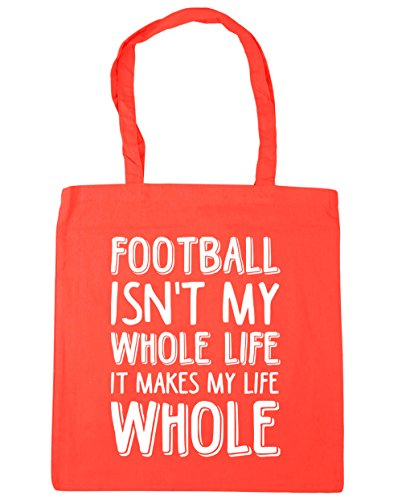 hippowarehouse Fußball ist nicht My Whole Life ES MACHT My Life ganze Tote Shopping Gym Beach Bag 42 cm 38 38, 10 Liter, korallenrot, One Size Orange Soccer Net