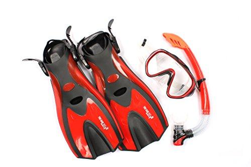 Maske Schnorchel Flossen, für Erwachsene, Silikon, XL 3 teiliges Tauch-Set, Stil 2 rot rot L/XL