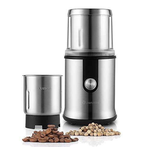Zanmini Elektrische Kaffeemühle & Gewürzmühle, 2 umtauschbare Edelstahlbehälter mit Schlagmesser & Spezialmesser von 110g / 3.88oz,300W