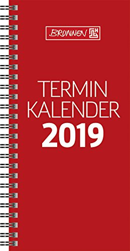 Brunnen 1078001 Tischkalender/Vormerkbuch Modell 780, 2 Seiten = 1 Woche, 100 x 207 mm, Karton-Umschlag rot, Kalendarium  2019, Wire-O-Bindung
