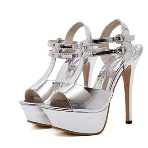 W&LM Signorina Tacchi alti sandali Questo è buono Piattaforma impermeabile sandali A strisce Fibbia di parole Bocca poco profonda sandali Silver