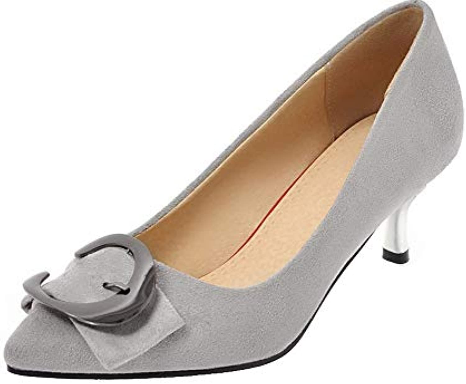 a6b3ce2772245a AgooLar Women s Solid Pu Kitten-Heels Pull-On Pull-On Pull-On Pointed  Closed Toe Pumps-Shoes