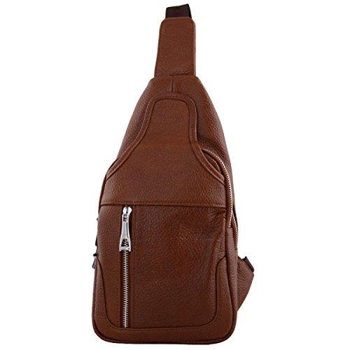 Herren Leder Brust Tasche Sporttasche Freizeit Messenger Bag Yellow