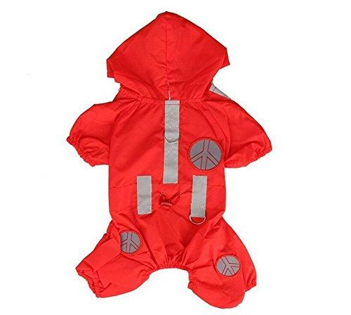 Tery niedlichen Hund Hoodie Mantel Wasserdicht Pet Hunde-Regenjacke Regenbekleidung rot S