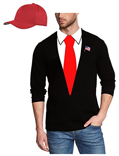USA PRÄSIDENT KOSTÜM - US PRESIDENT Karneval Fasching Kostüm USA WAHL schwarz langarm + Cap Rot Gr.XXXL (Unisex T-shirt Präsident)