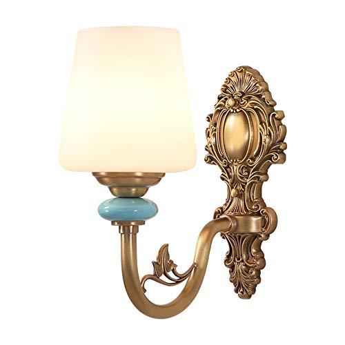 Style Américain Américain Lampes Murales Cuivre E27 Luxueux Salon Lampes Murales En Laiton Chambre Lits Côté Escalier Couloir Appareils D'éclairage,Singlehead