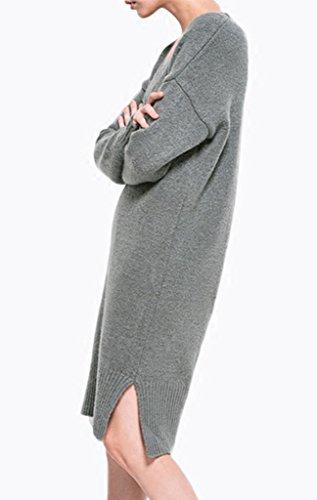 Smile YKK Long Sleeve Design Damen Gestricktshirt Sweatshirt Langarmshirt Pullover Pulli Strick T-shirt Oberteil Tops Grau