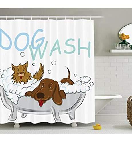 Mops Hund In Der Badewanne Pflege Doggy Puppy Salon Service Shampoo Polyester Bad Duschvorhang Set Mit 12 Haken Duschvorhang Durable Mehltau 71X71in -