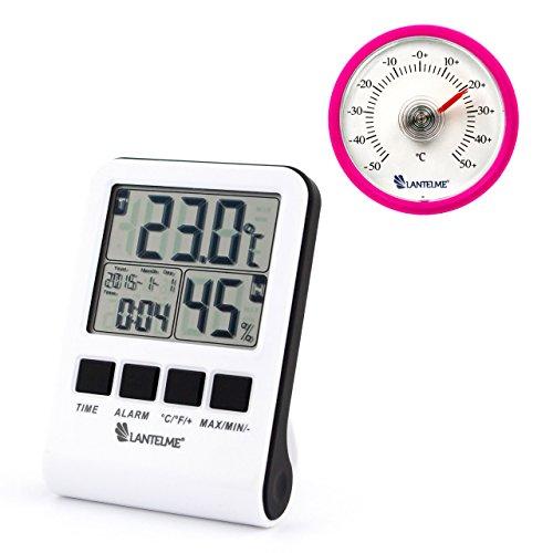 Lantelme 2619 Set Digital und Analog Thermometer - Digitalthermometer mit MinMax - Luftfeuchte - Uhr - Kalender und Alarm Funktionen