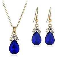 Hosaire Sistemas de la Joyería, Collar Pendientes Diamante Gotitas de Agua Elegante Joyería Mujer Juego de Colgante Cristal Colgante + Pendientes (Azul)