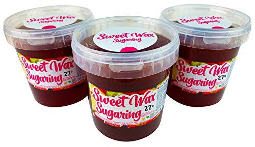 Sweet Wax 27° - Rot - 3300g (3X1100g) Natürliche Sugaring Zuckerpaste zur Haarentfernung per Hand. 27° für warme Sommer Tage. Brazilian Wax zur enthaarung für zuhause.