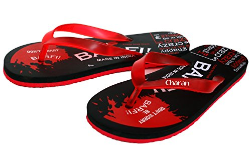 Charan Collections Men's Red and Black Casual Beach Or House Slippers House Chappals for Men (Barfi) - 6 UK  available at amazon for Rs.119