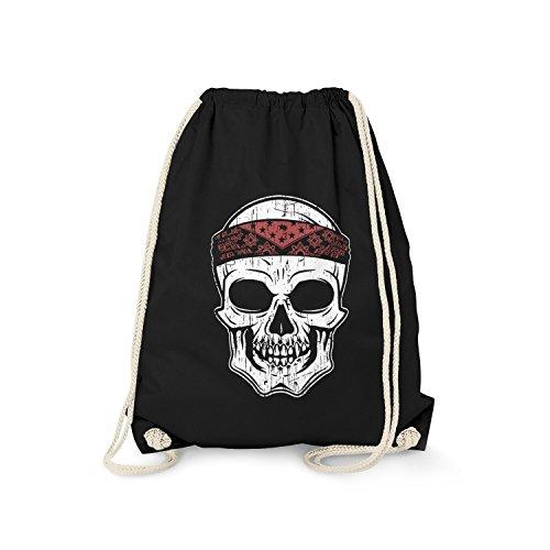Fashionalarm Turnbeutel - Totenkopf Bandana | Fun Rucksack mit Totenschädel Skull Kopftuch Motiv, Farbe:schwarz