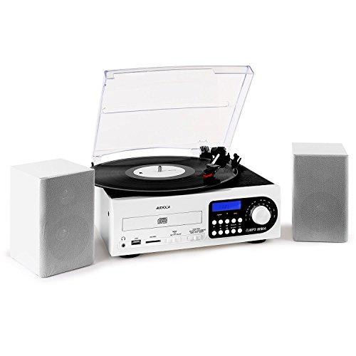 Audiola/Majestic Hifi-Stereoanlage Kompaktanlage mit Plattenspieler zum Digitalisieren (CD-Player, Radio, MP3-fähig, SD-Slot, AUX, UKW/MW-Tuner, Kassettendeck, Stereo-Cinch-Ausgang) weiß