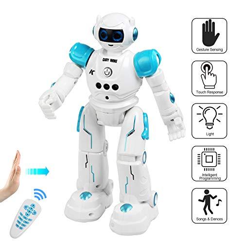 BelleStyle Robot Telecomandato per Bambini, Intelligente Programmabile con Infrarossi Controller, LED Occhi RC Robot Giocattolo - Musica, Danza, Camminare, Gesti Rilevamento Ricaricabile Robot - Blu