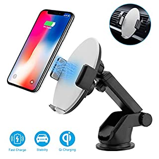 Wireless Car Charger Mount, Auto-Clamping 10W Qi Fast Charging Car Phone Holder with 360° Air Vent Holder, Car Charger Dashboard Compatible for iPhone Xs/X /8/8 Plus, Samsung Galaxy Note S9+/S8