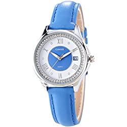 Comtex Women's Wrist Watches with Blue Leather Strap Date Calendar Display