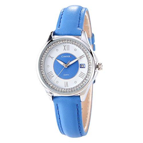 Comtex Femmes de Mode Diamant Montres à Quartz Analogique en Cuir Blue