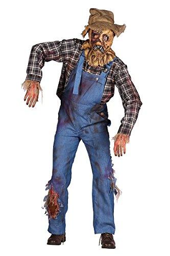 Thetru 2360 Lebende Vogelscheuche 2-Teilig Latzhose Hemd Zombie Leiche Untoter Halloweenkostüm Herren Halloween Herrenkostüm Karneval Fasching...