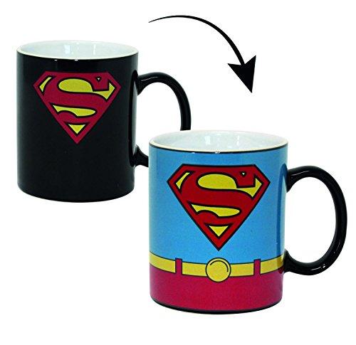 Superman Thermoeffekt-Tasse Kostüm - weiß, Bedruckt, 100% Keramik, Fassungsvermögen ca. 320 ml, in Geschenkkarton. (Superman Weißen Kostüm)