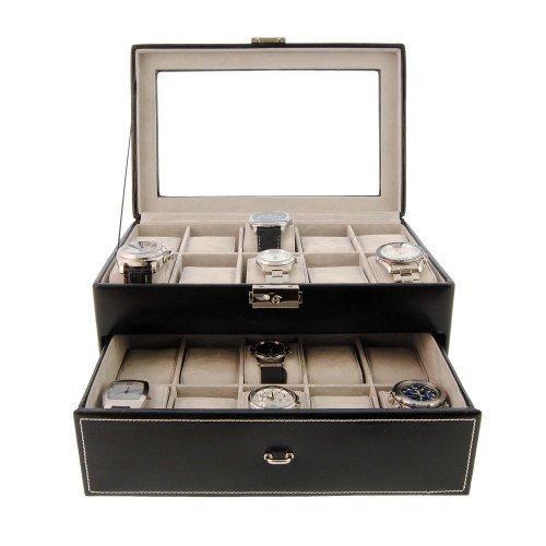 vetro-superata scatola per 20 orologi grande sphere in pelle nera
